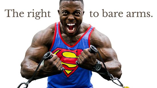 Bodybuilder with sleeveless top