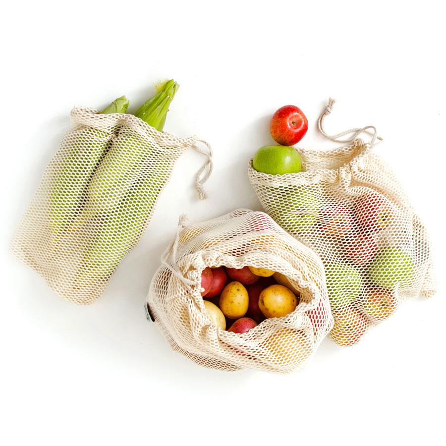 Reusable Certified Organic Cotton Mesh Produce Bags - Set of 6 (ABBYSFOODCOURT5 for 5% off)   WOWE Lifestyle