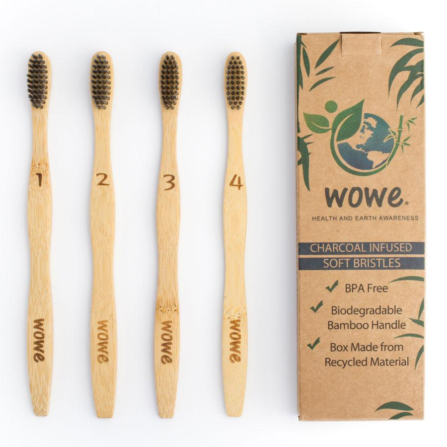 Natural Bamboo Toothbrush with Charcoal Infused Bristles (ABBYSFOODCOURT5 for 5% off)   WOWe Lifestyle
