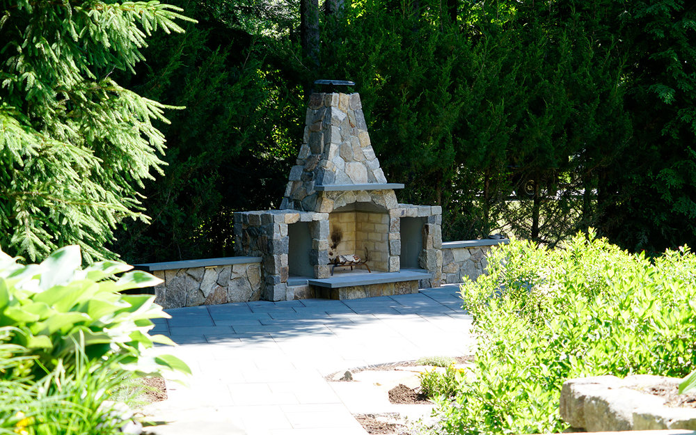 Squire Lane - Bluestone Patio   Wood Burning Fireplace   Natural Stone Steps   Stone Seats   Plant Material   Lighting & More
