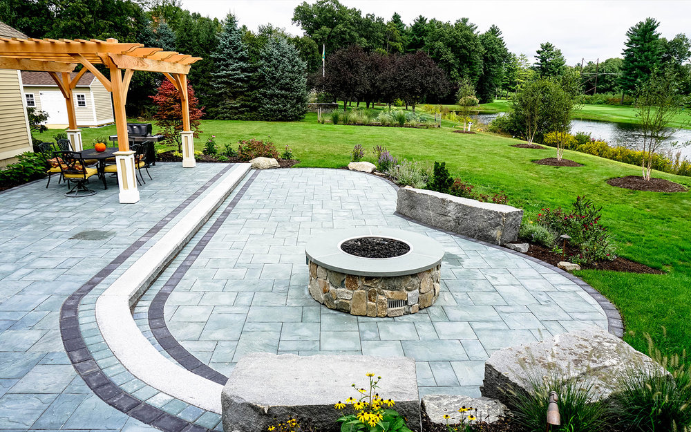 Windsor Green - Patio   Gas Fire Pit   Stone Seats   Pergola   Deck   Plant Material   Lighting & More