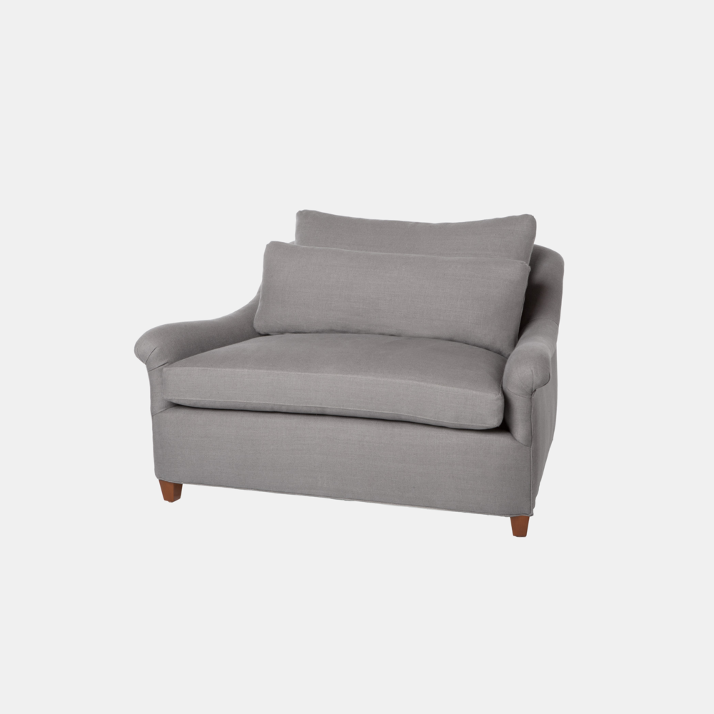 """Genevieve Chair and a Half  50""""w x 32""""h x 40""""d Available slipcovered and upholstered."""