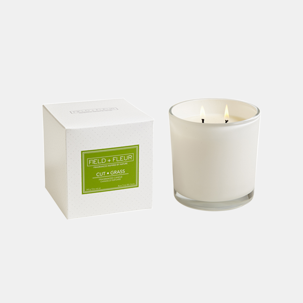 Cut Grass Candle  Two-wick candle in white glass jar. 12 oz. SKU49101HLN