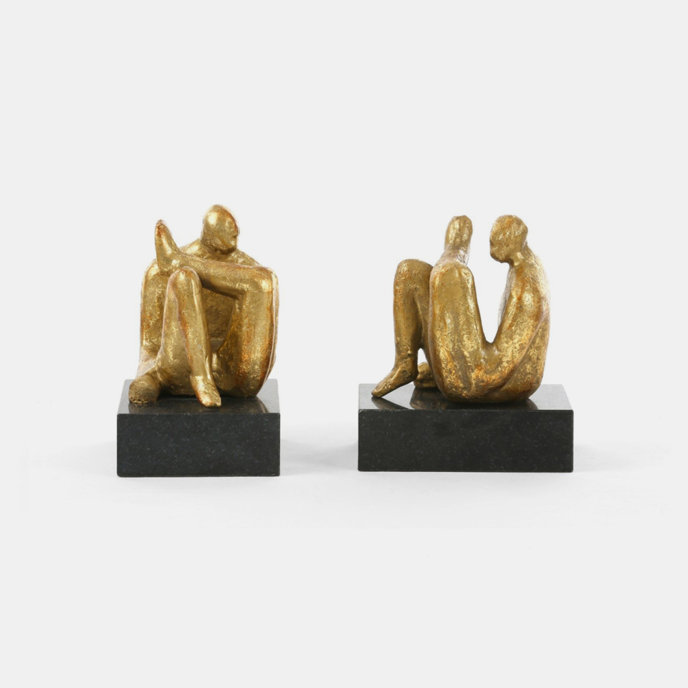 Gold Sitting Statue  Gold leafed iron on black marble base. 5.5w x 4.5d x 6h. SKU7785BGW