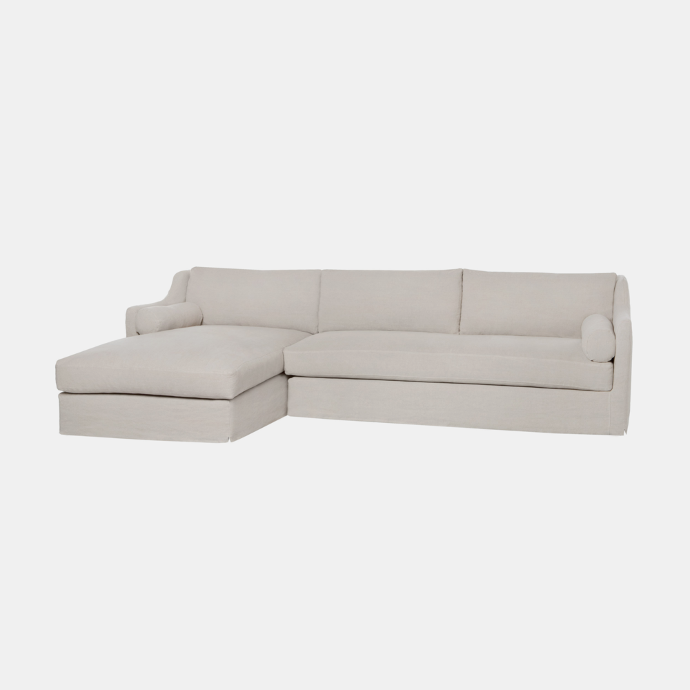 "Dalia Sectional  123""w x 33""h x 68""d Available slipcovered and upholstered. SKU2408CSC"