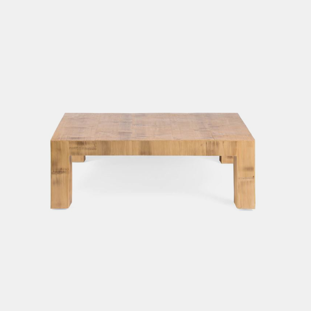 "Millie Cocktail Table  48""L X 48""W X 18""H 60""L X 40""W X 18""H Available in antiqued and natural (shown here)."