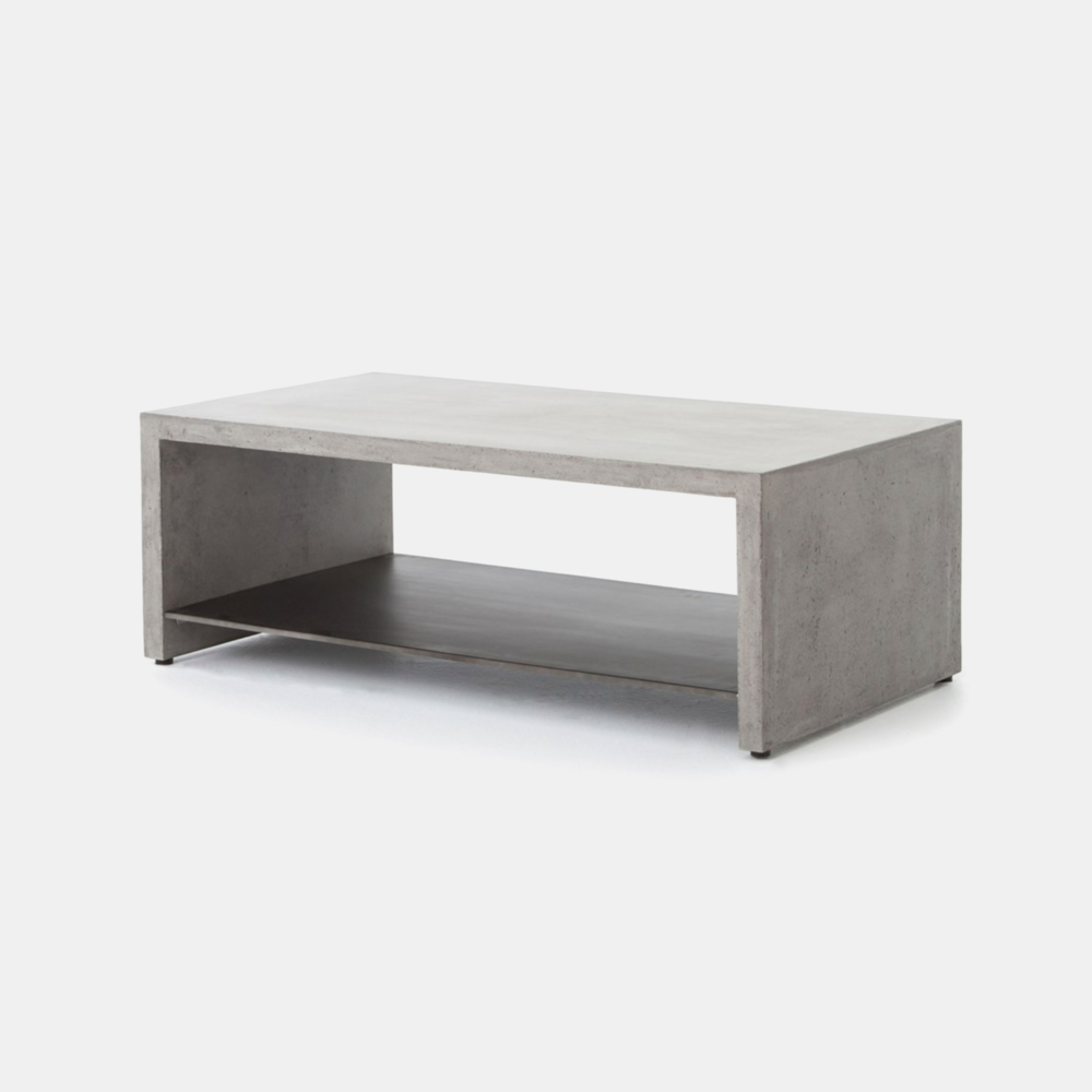 "Hugo Coffee Table  46""w x 25""d x 16""h Available in dark gray (shown) and parchment white."