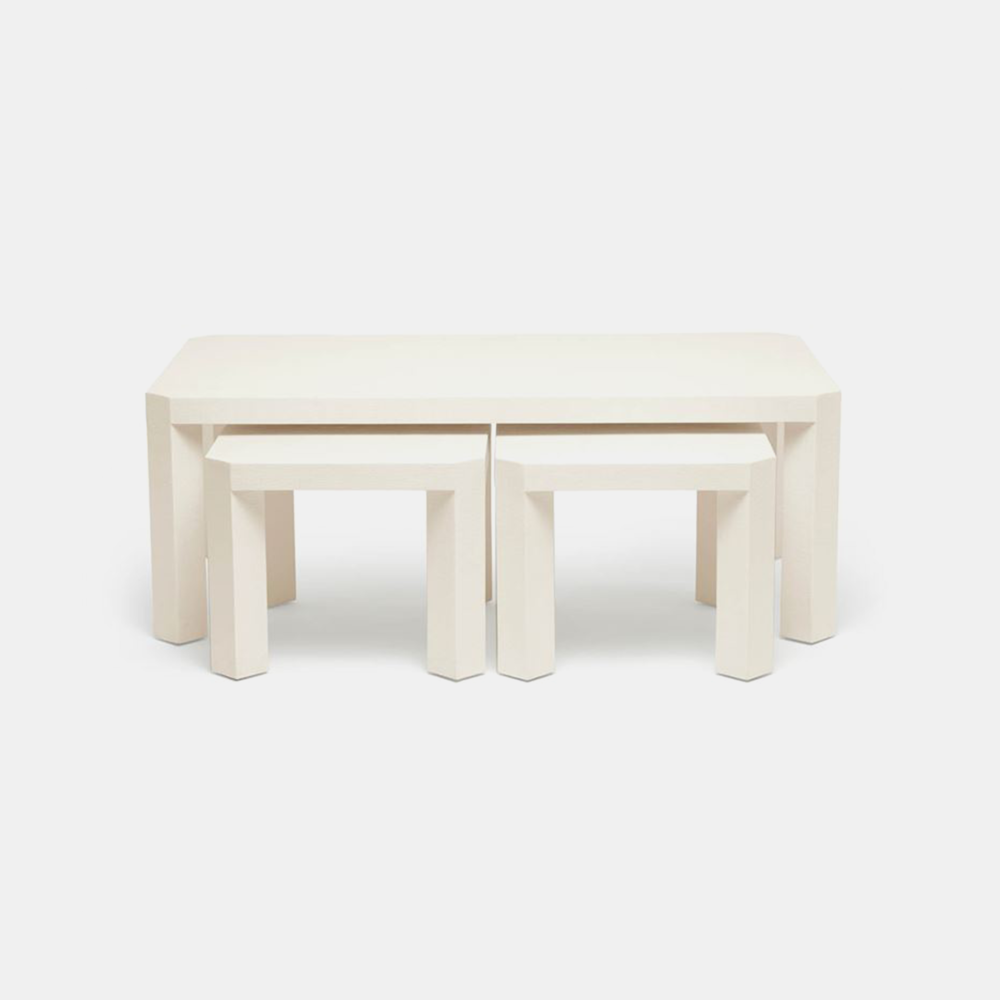"Taylam Nesting Coffee Tables  52""L X 30""W X 19""H Faux raffia. Available in off-white (shown), white, and seal."