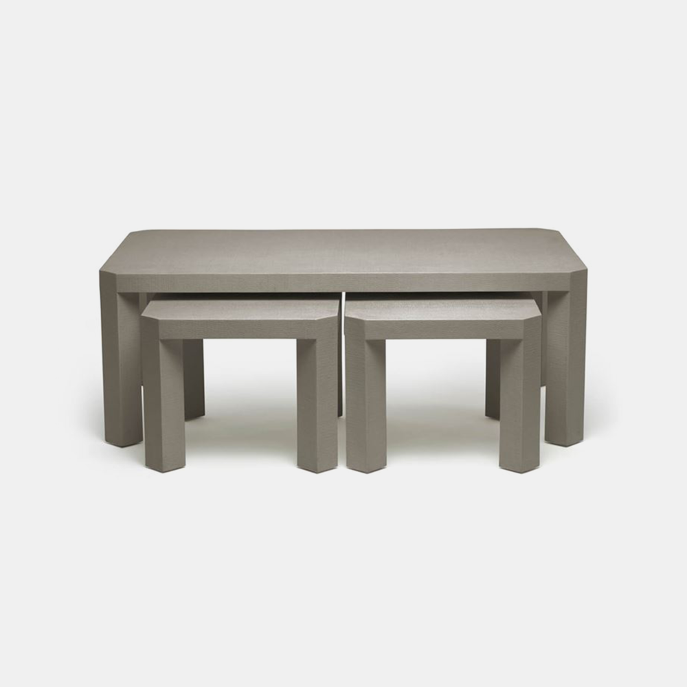 """Taylam Nesting Coffee Tables  52""""L X 30""""W X 19""""H Faux raffia. Available in off-white, white, and seal (shown). SKU1124MGS"""