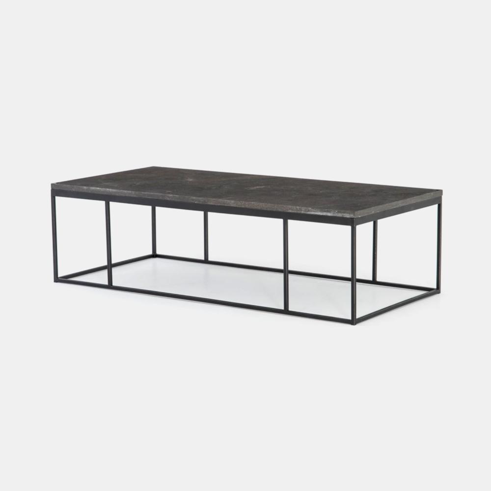 "Harlow Coffee Table  60""w x 28""d x 17""h Bluestone top and gunmetal base. SKU7856FHS"