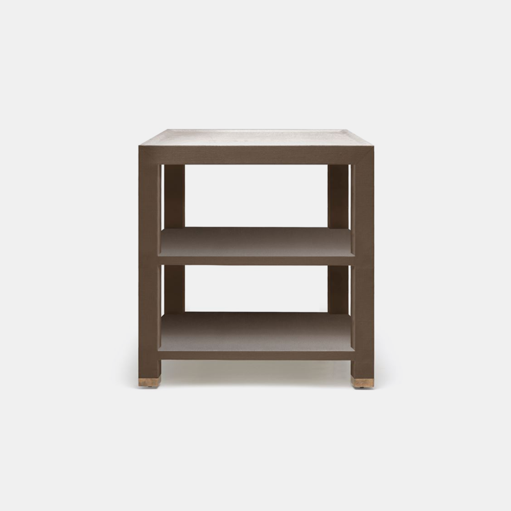 "Jarin Side Table  25""L X 18""W X 28""H 24""L X 24""W X 28""H Faux Belgian linen. Available in six colors (brown shown)."
