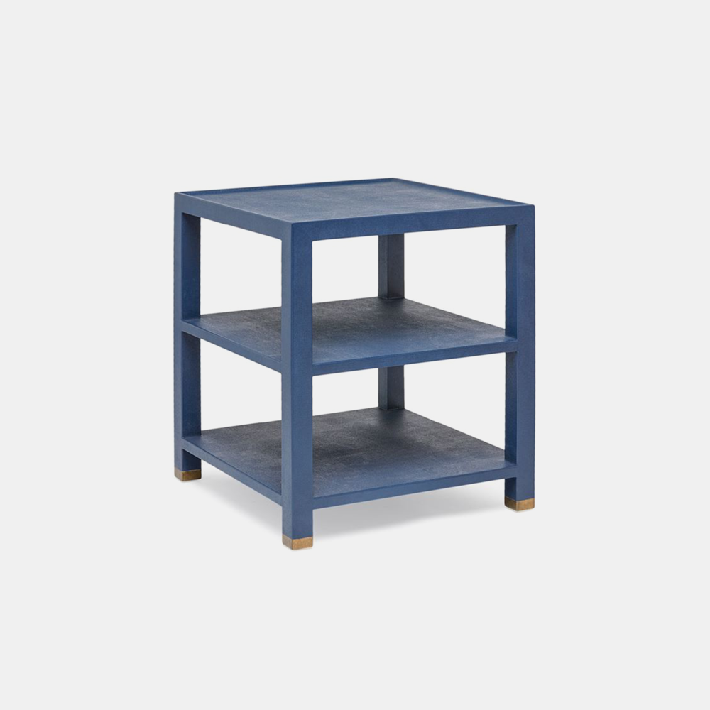"Jarin Side Table  25""L X 18""W X 28""H 24""L X 24""W X 28""H Faux Belgian linen. Available in six colors (true navy shown)."