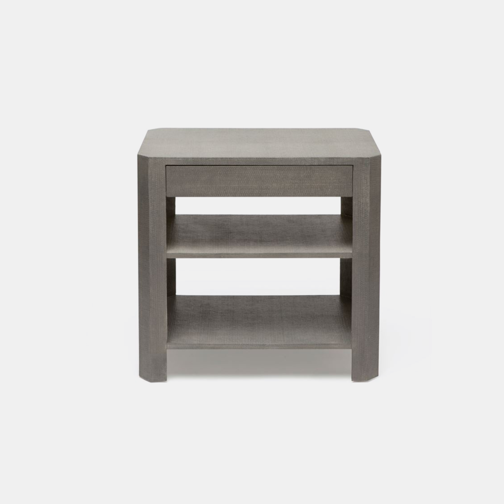 "Lena Side Table  Single 18""L X 18""W X 28""H Double 30""L X 18""W X 28""H Available in white and gray (shown) faux raffia."