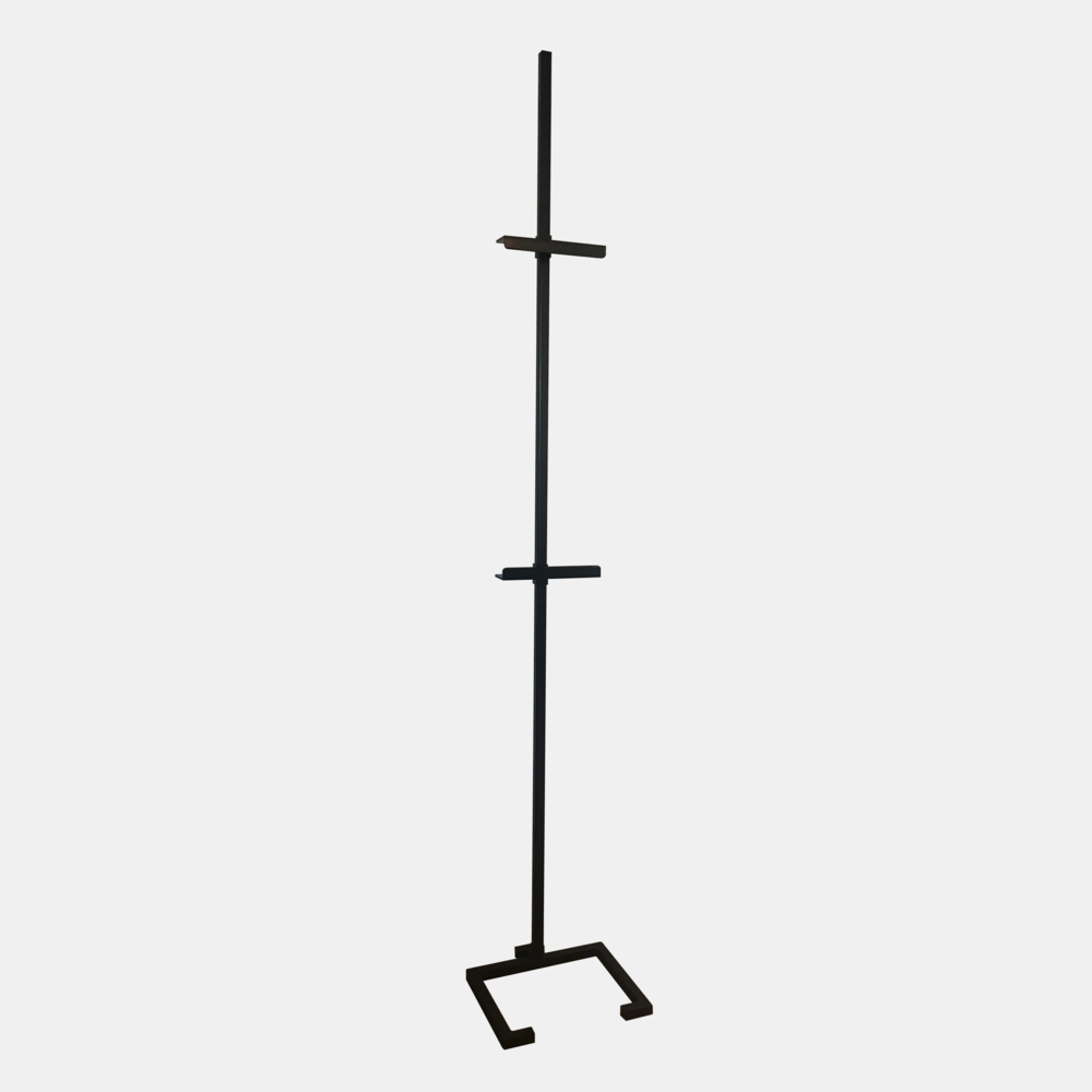 """Large Steel Easel  Black powder-coated steel base with hollow-core post and adjustable brackets. Custom made in Atlanta, GA. Large: 90"""" high, 15""""x14.5"""" base. All brackets 2.5"""" deep. Additional brackets available for use with two pieces of art."""