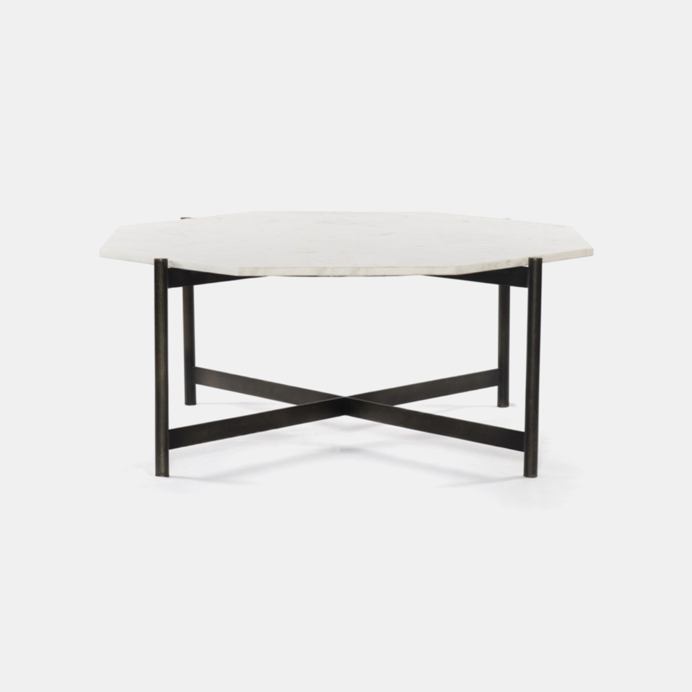 """Adair Coffee Table  39.75""""w x 37""""d x 16""""h Marble top with raw brass or hammered grey (shown) base. SKU9823FHS"""