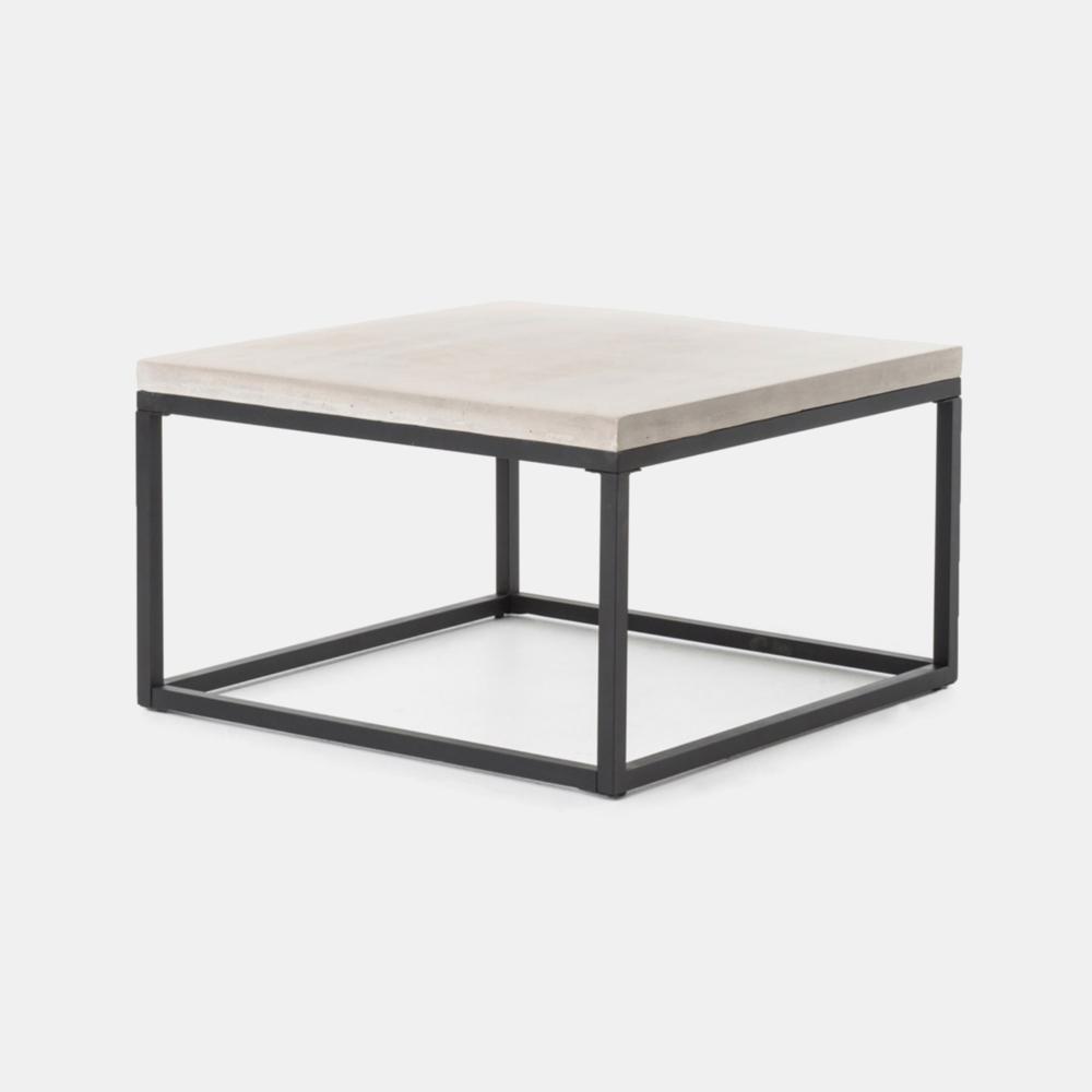 "Maximus Coffee Table  29.50""w x 29.50""d x 17.25""h 39.25""w x 19.75""d x 17.25""h Concrete top and iron base. SKU1192FHS"