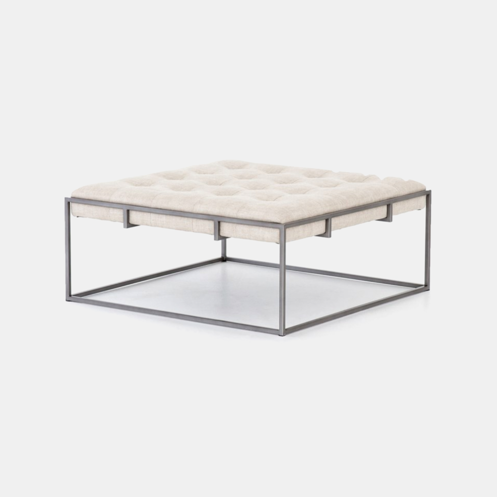"""Oxford Coffee Table  36""""w x 36""""d x 16.25""""h Available in linen/iron (shown) and leather/brass."""