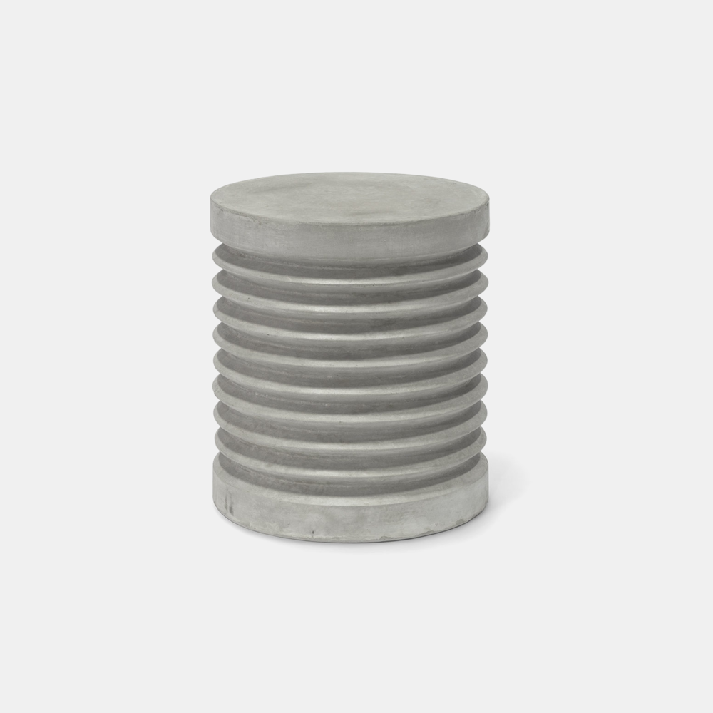 "Pompeii Stool / Table  15.75""d x 17.75""h Available in grey (shown) and white."