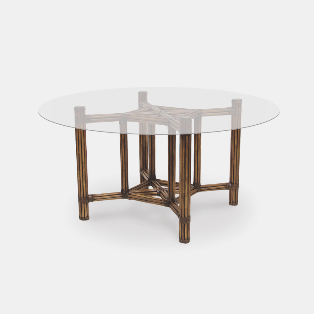 """President's Dining Table Base with Glass Top  Rattan base 31.75""""sq x 29.5""""h Glass top up to 58""""w"""