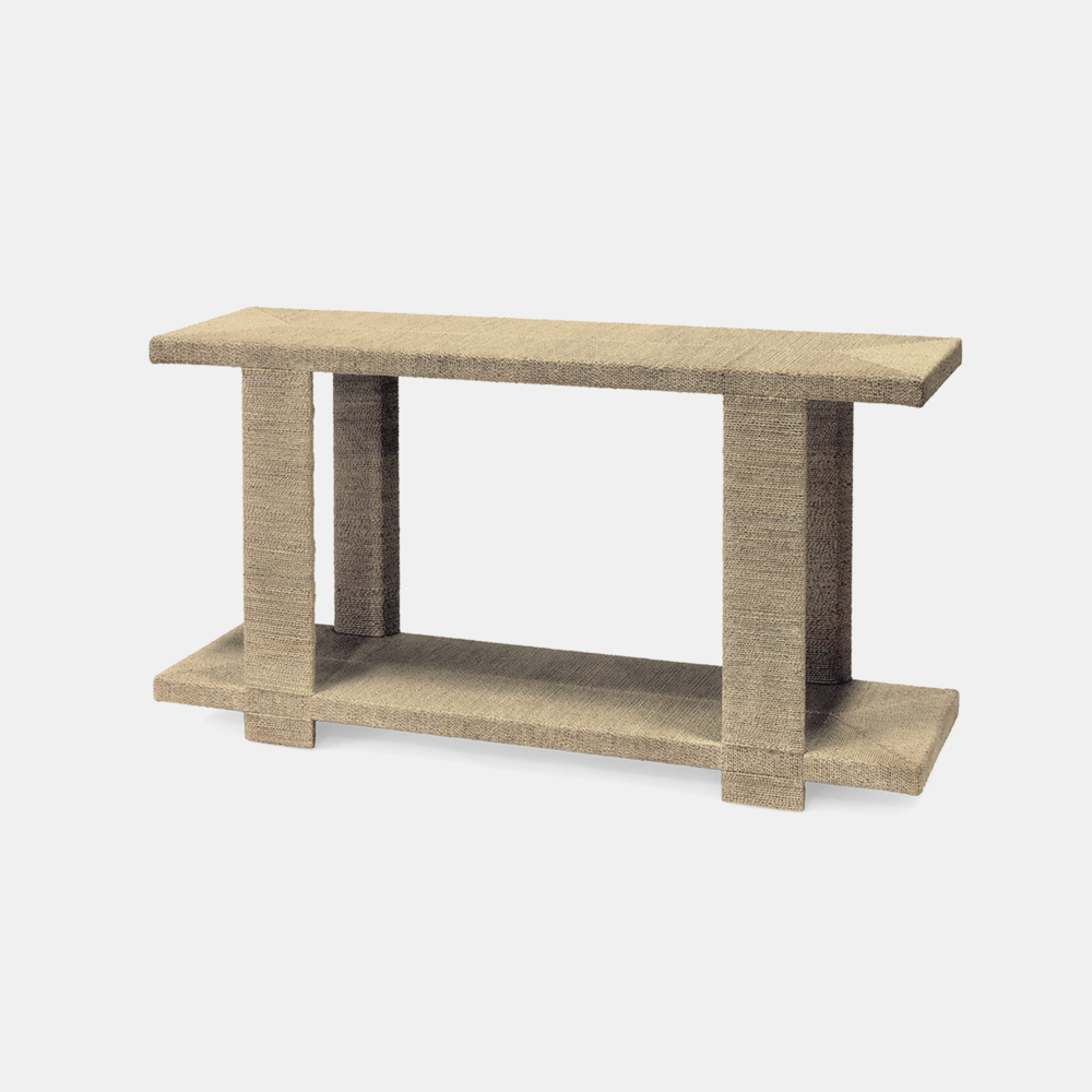"""Clint Console  60""""w x 16""""dp x 33""""h Available in natural (shown) and white sand. Also available as side table and coffee table. SKU51398PLK"""