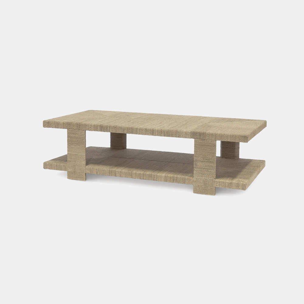 """Clint Coffee Table  60""""l x 30""""w x 17""""h Available in natural (shown) and white sand. Also available as side table and console table. SKU10495PLK"""