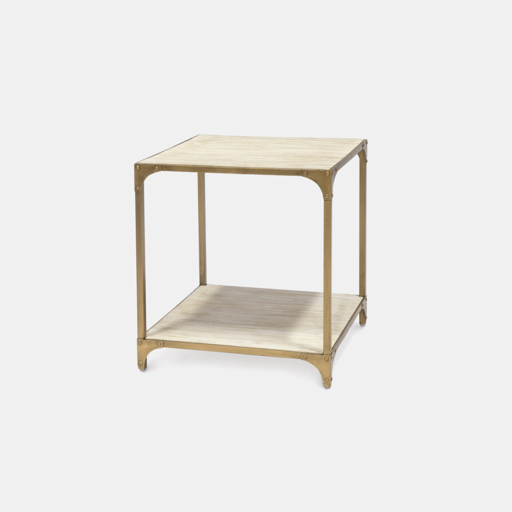 "Ellison Side Table  22""sq x 24""h Wood shelves and metal frame. Also available as coffee table and console table."