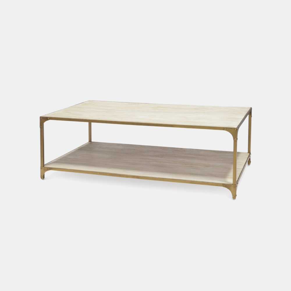 "Ellison Coffee Table  54""w x 16""d x 32""h Wood shelves and metal frame. Also available as side table and console table."