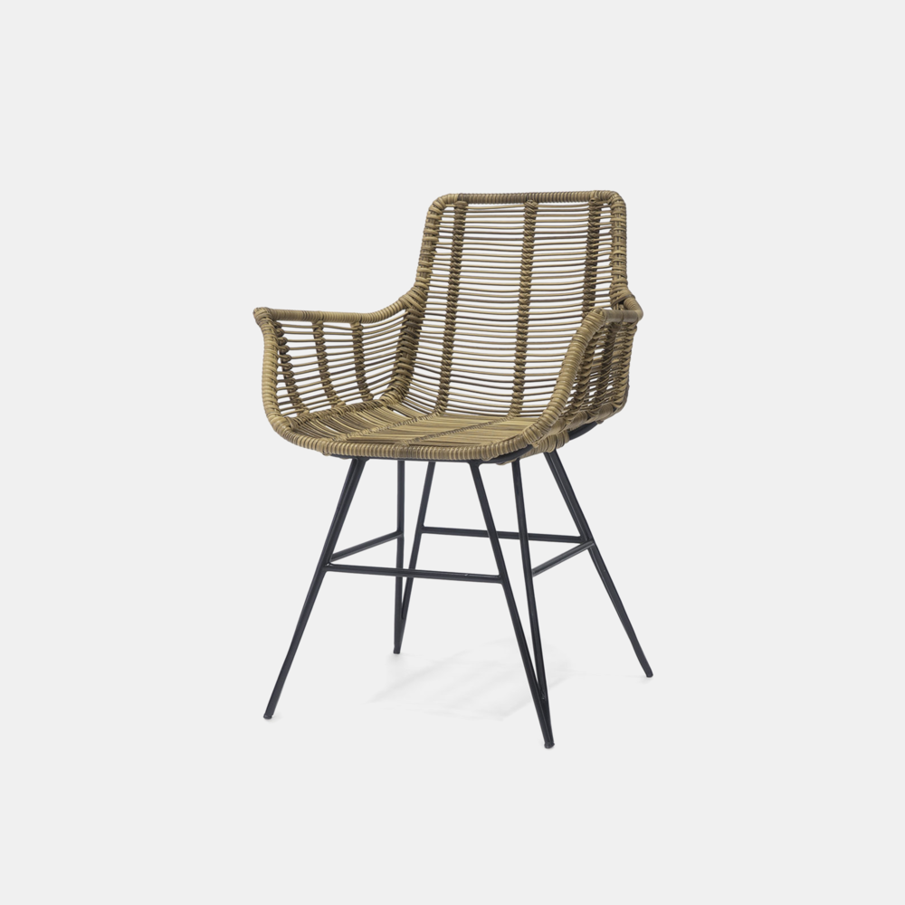 """Hermosa Arm Chair  23.5""""w x 23.5""""d x 32.5""""h Available in natural brown and grey. Also available as side chair, lounge chair, stool, bench, counter stool, and bar stool."""
