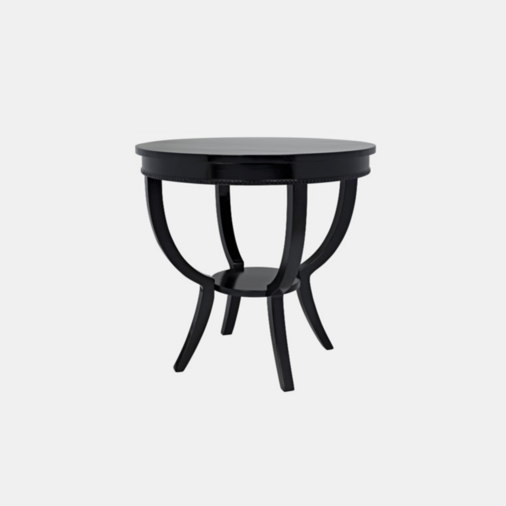 "Scheffield End Table  30"" round x 28"" h Available in black (shown) and distressed brown."