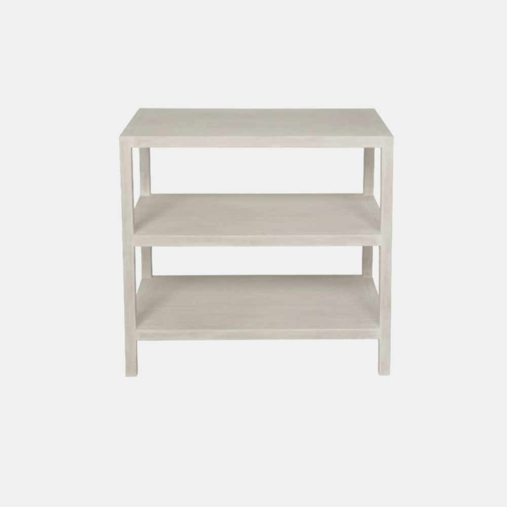 "Two Shelf Side Table  28""l x 18""d x 26""h Available in white wash (shown) and black."