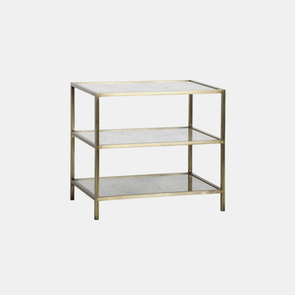 "3 Tier Antique Brass & Mirror Side Table   30""l x 20""d x 28""h Also available in dark metal finish."