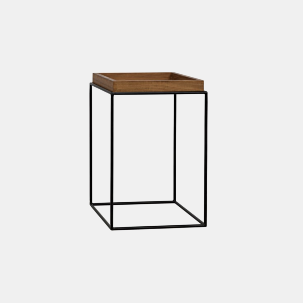 "Metal & Gold Teak Side Table  16""sq x 24""h Also available in 26""sq x 18""h"