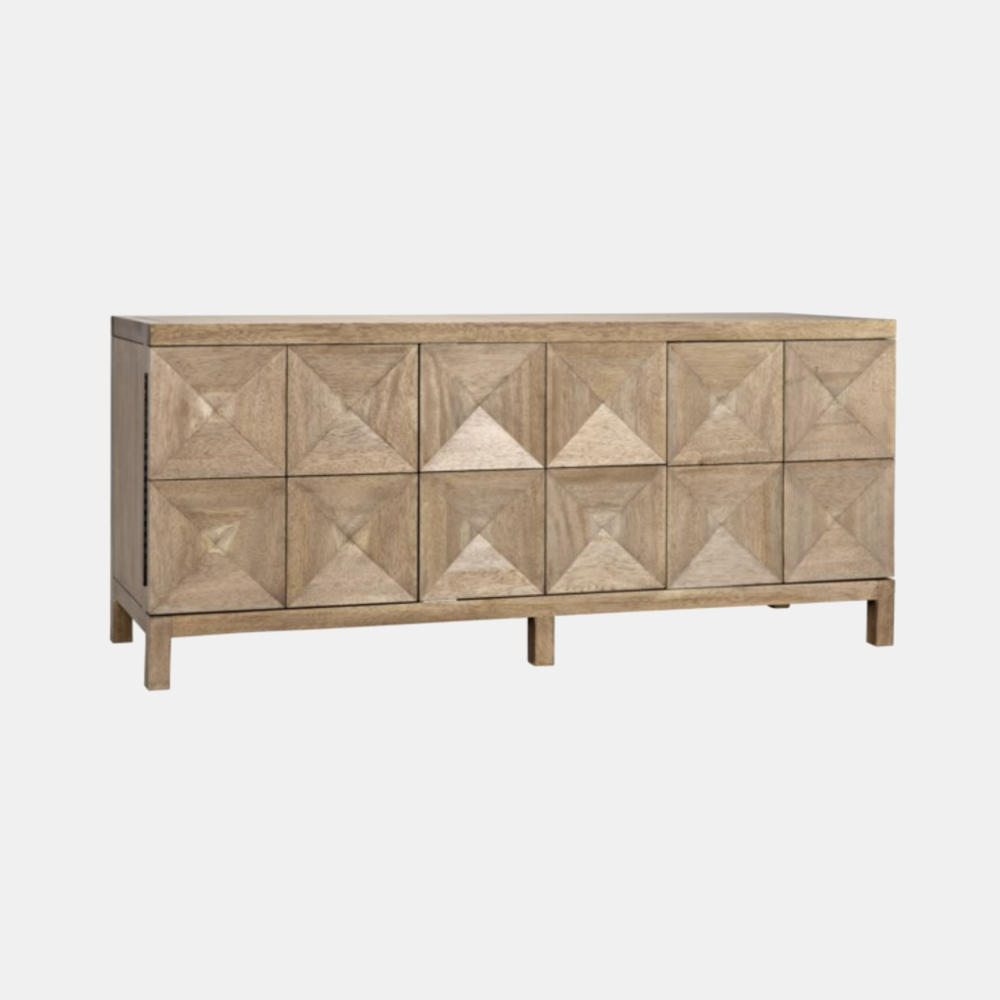 """Quadrant Sideboard  76""""l x 23""""d x 33.5""""h Available in washed walnut (shown) and dark walnut."""
