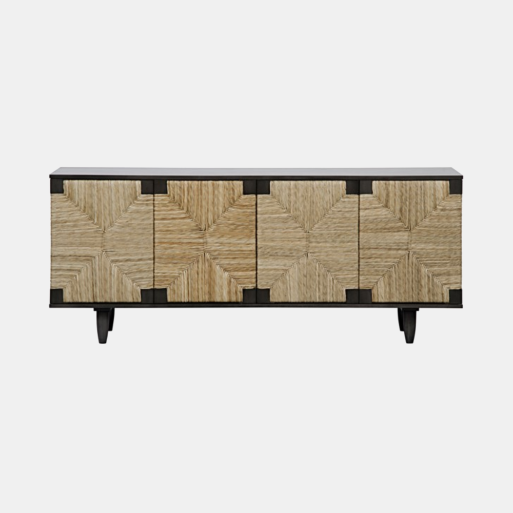 """Brook 4 Door Sideboard  76.5""""l x 22.5""""d x 32""""h Available in pale (shown) or teak. Also available as 2-door 38""""l x 22.5""""d x 32.5""""h."""