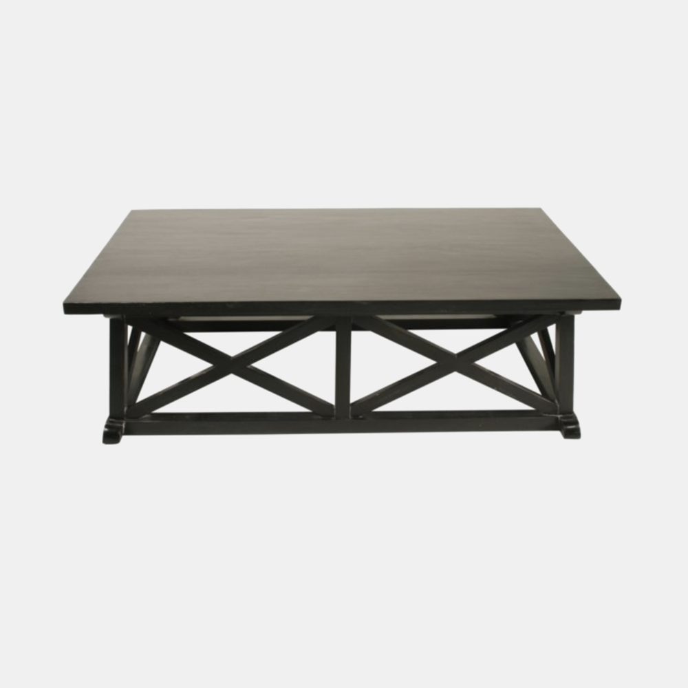 "Sutton Coffee Table  60""l x 34""w x 18""h Available in black (shown) and white wash."