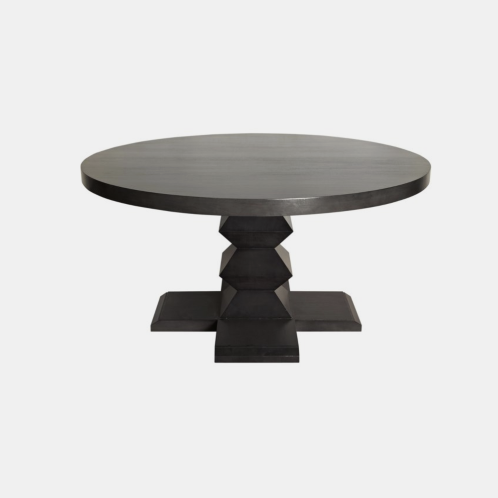 """Zig Zag Base Dining Table  60"""" round or 48"""" round x 30""""h Available in pale (shown) or black."""