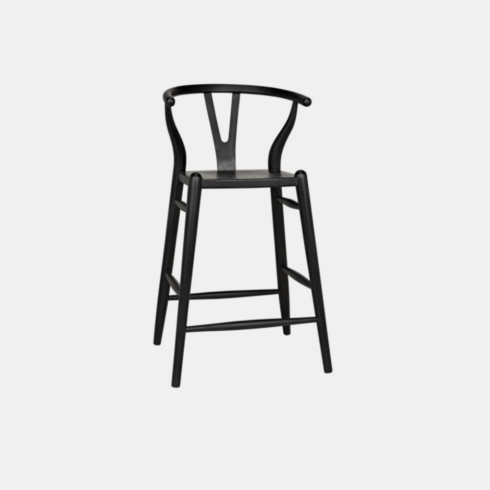 """Zola Bar Stool  21""""w x 18.5""""d x 42""""h Available in black (shown) and natural. Also available as chair and counter stool."""