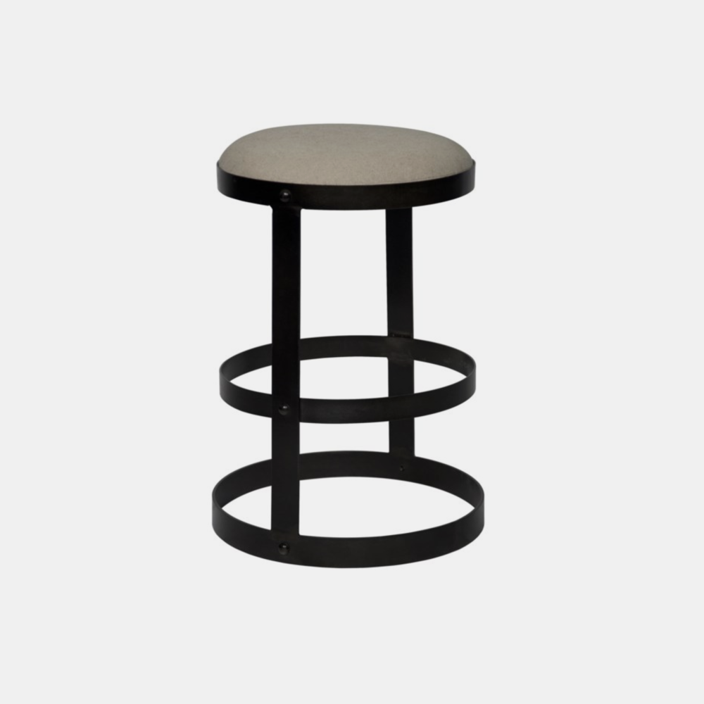 """Dior Counter Stool  19""""w x 18.5""""d x 26""""h Available in dark metal (shown) and antique brass. Also available as bar stool."""