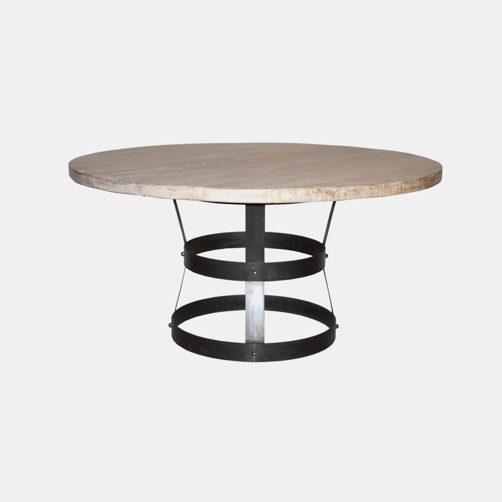 """Basket Dining Table  30""""h x 54"""", 60"""", or 72"""" round Available with fir (shown) or alder top."""