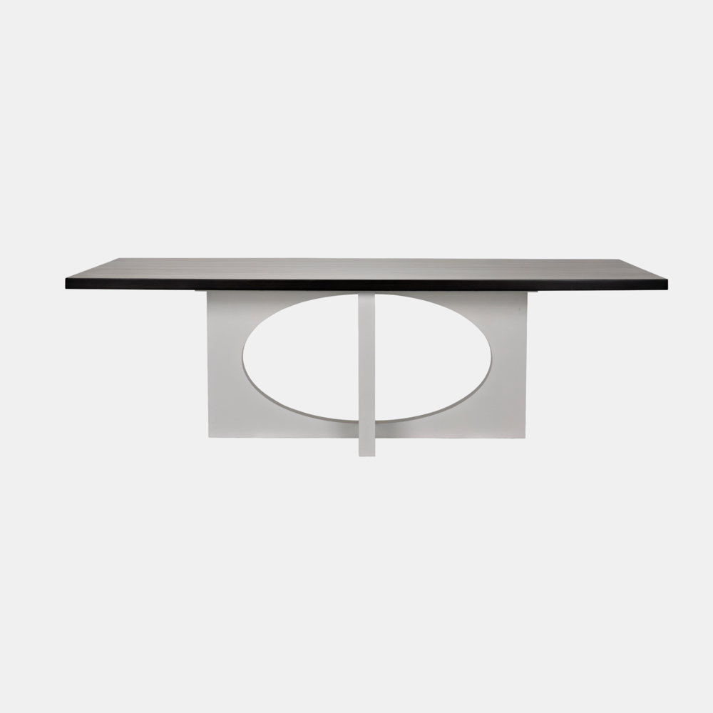 """Buttercup Dining Table  96""""l x 42""""w x 30.5""""h  Available in espresso top / mystic white base (shown), gray wash wax, and light brown wax."""