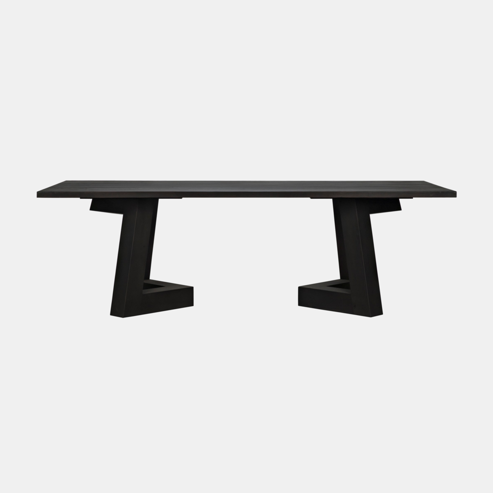 """Riga Dining Table  96""""l x 42""""w x 30""""h  108""""l x 44""""w x 30""""h 120""""l x 44""""w x 30""""h Available in black wax (shown) or gray wash wax."""