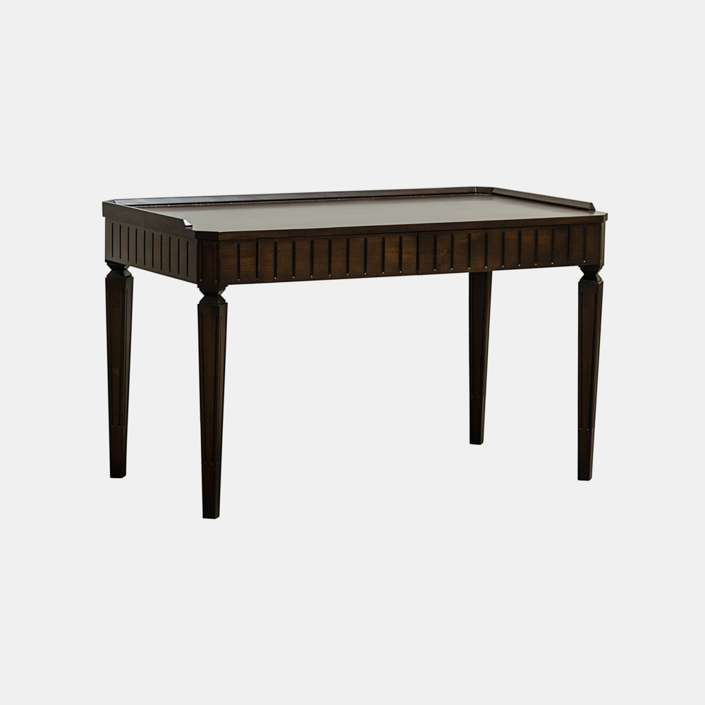 "Astrid Desk  52""l x 28""w x 31""h Available in espresso alder (shown) and gray wash wax fir."