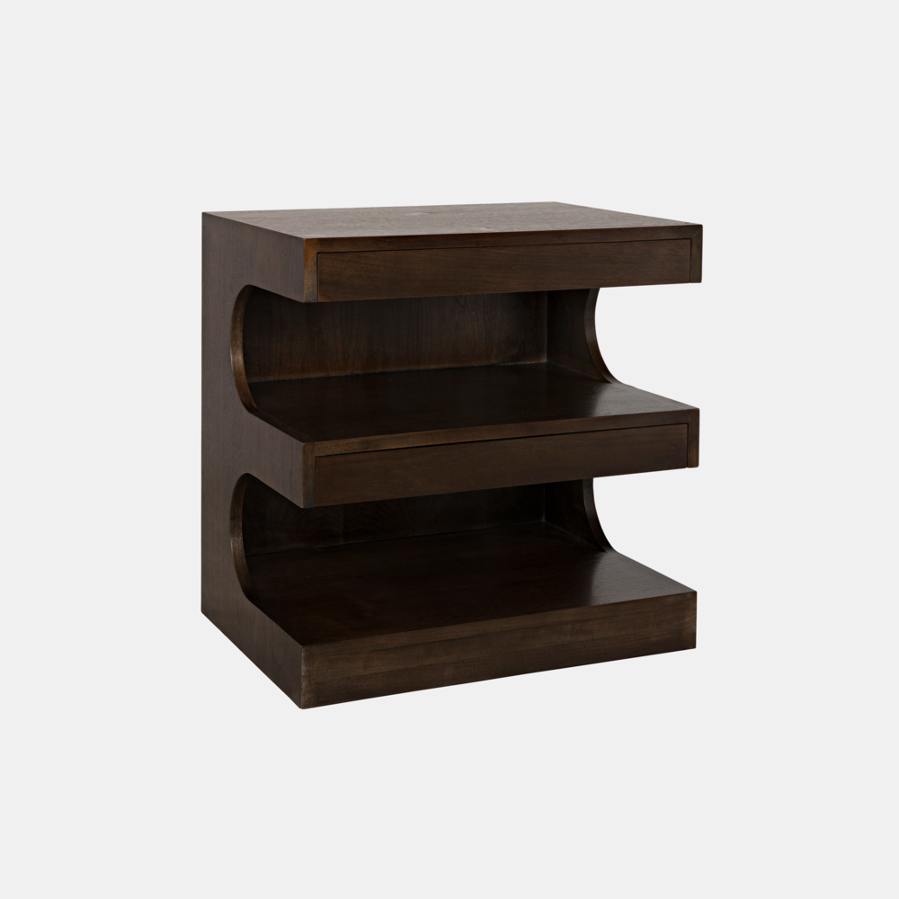 "Radcliff Side Table  24""l x 16""d x 24""h  Available in walnut (shown) or gray wash wax fir."