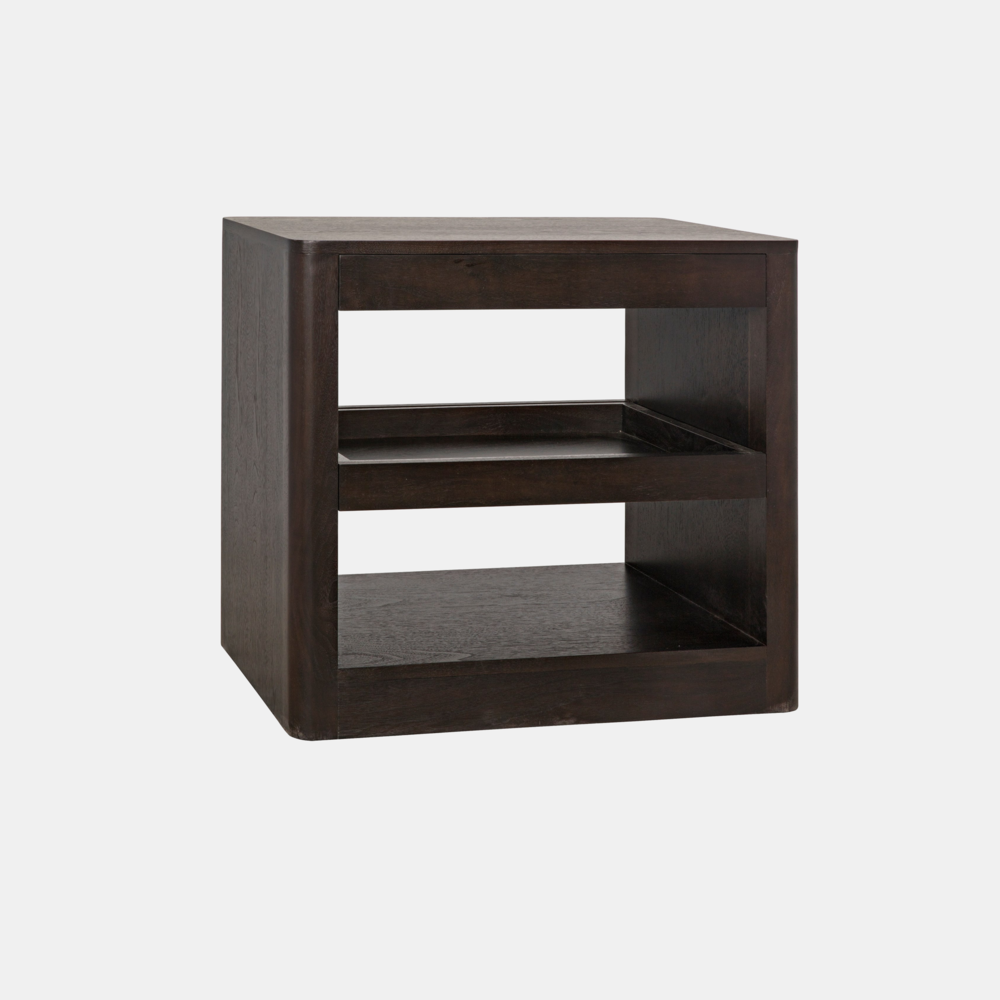 "Mayito Side Table  30""l x 18""d x 26.5""h  Available in walnut (shown) or gray wash wax fir."