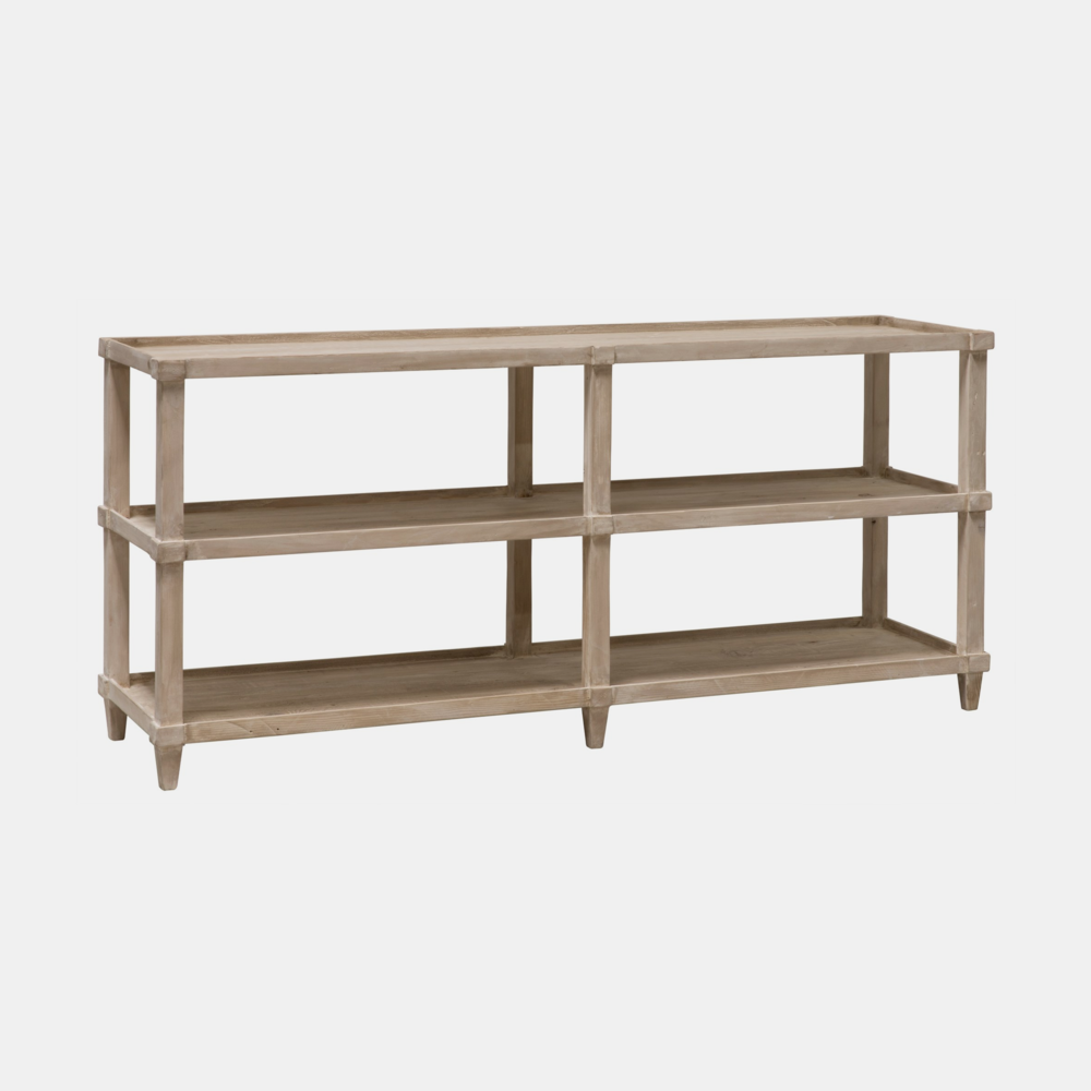 """Lilia Console  84""""l x 20""""d x 32""""h 72""""l x 18""""d x 32""""h 60""""l x 18""""d x 32""""h Available in gray wash wax (shown) or espresso. Also available with casters."""