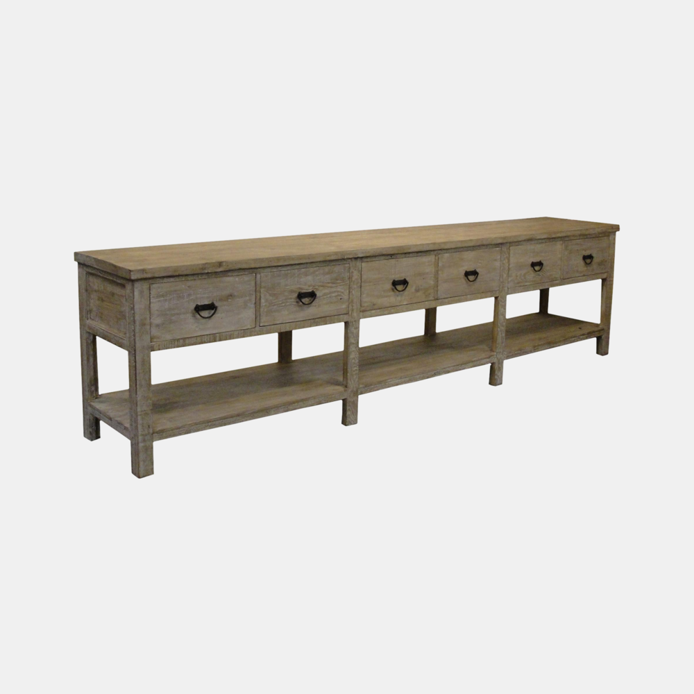 """Reclaimed Lumber Console  142""""l x 24.5""""d x 36""""h Also available as 3-drawer 84""""l x 20""""d x 36""""h"""