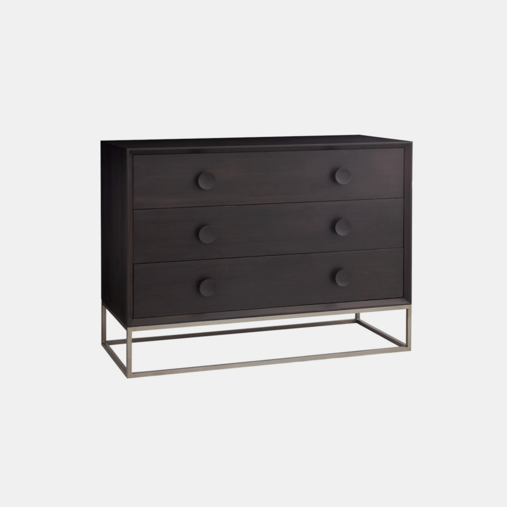 "Spencer 3-Drawer Dresser  50""l x 20""d x 33.5""h Available in several wood and metal finishes. Also available as 6-drawer dresser (62""l x 20""w x 33.5""h), 1-drawer and 2-drawer nightstands, and 4-door and 2-door/3-drawer entertainment consoles."