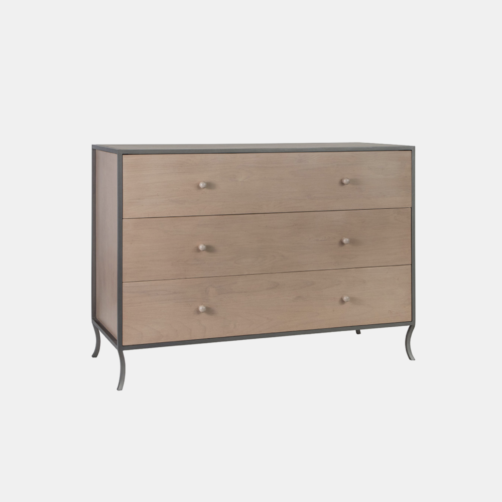 "Milla 3-Drawer Dresser  49""l x 20""d x 34""h Available in several wood and metal finishes. Also available as 6-drawer dresser, side table, small side table, and side table with drawers."