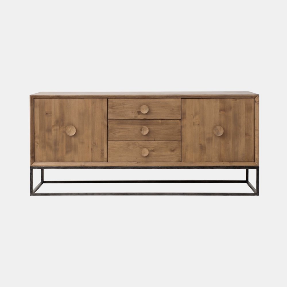 """Spencer Entertainment Console  66""""l x 21""""d x 29""""h Available in several wood and metal finishes. Also available as 3-drawer and 6-drawer dressers, 1-drawer and 2-drawer nightstands, and 4-door entertainment console."""