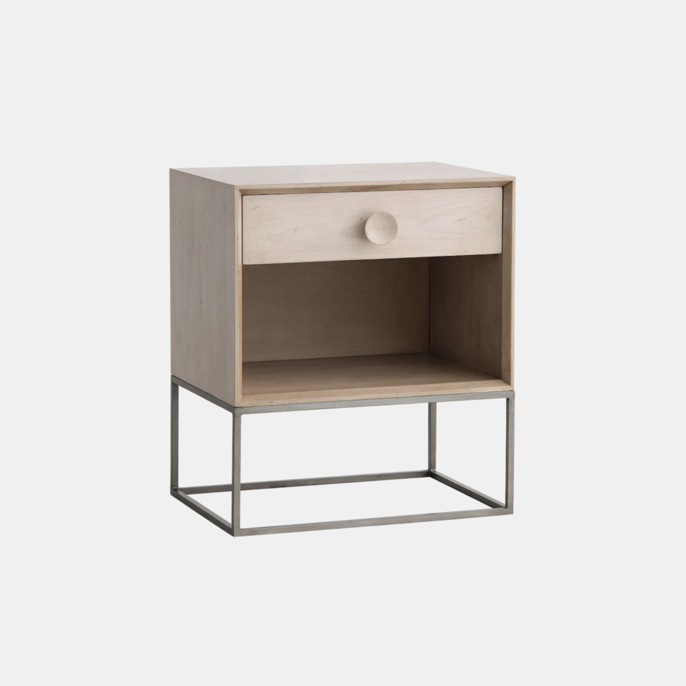 "Spencer Nightstand  22""l x 16""d x 25.5""h Available in several wood and metal finishes. Also available as 2-drawer nightstand, 3- and 6-drawer dressers, and 4-door and 2-door/3-drawer entertainment consoles."